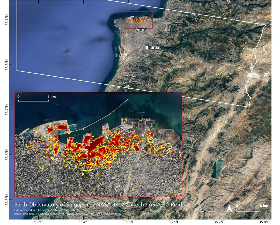 بالصور .. عدسة ناسا توثق حجم الضرر الذي خلفه انفجار بيروت .
