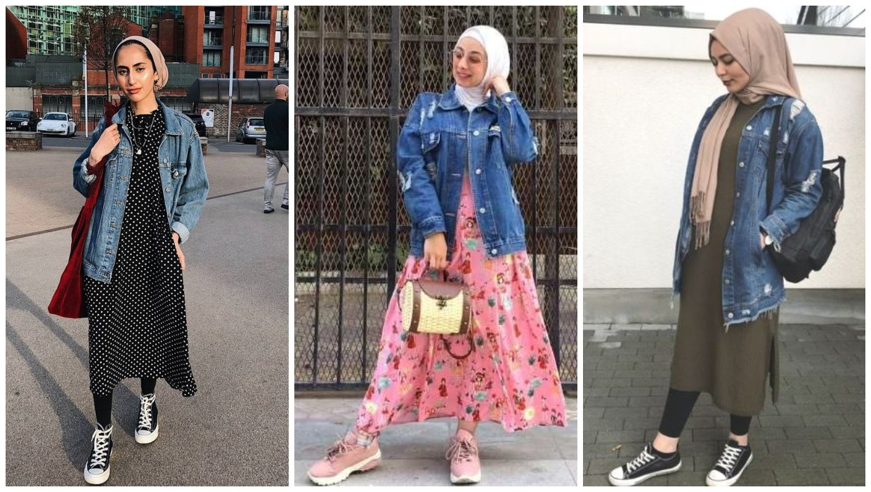 طرق ارتداء الجاكيت الجينز الطويل للمحجبات مع الفساتين