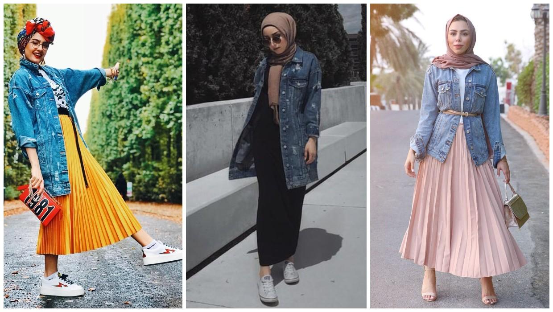 طرق ارتداء الجاكيت الجينز الطويل للمحجبات مع التنورة
